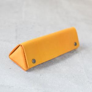 銘黃植鞣牛皮三角立體筆盒/眼鏡盒