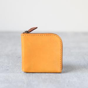 銘黃色植鞣真牛皮手工零錢包