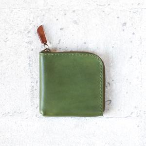 橄欖綠植鞣真牛皮手工零錢包/皮夾