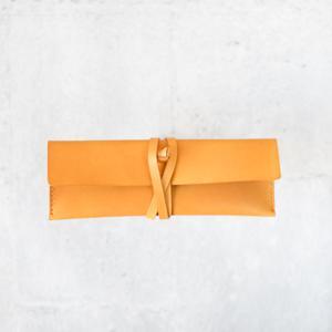 植鞣淡黃色牛皮真皮筆袋