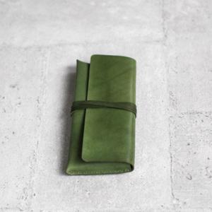 植鞣橄欖綠色牛皮真皮大筆袋