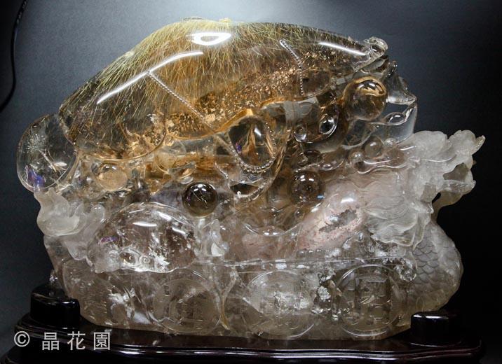 天然極品維納斯金髮晶龍珠雕件